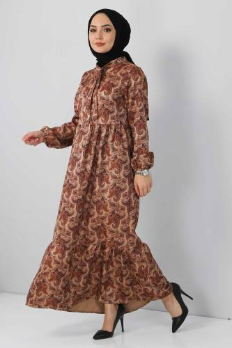Tesettür Dünyası - Şal Desenli Elbise TSD4418 Vizon (1)