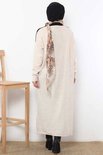 Scarf Sweater Dress TSD1480 Beige - Thumbnail