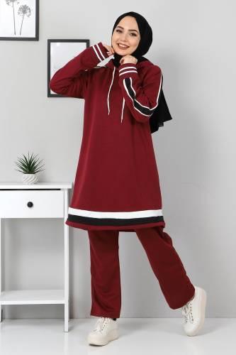 Tesettür Dünyası - Striped Double Suit TS10475 Claret Red