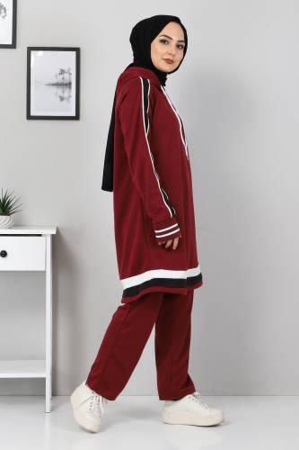 Tesettür Dünyası - Striped Double Suit TS10475 Claret Red (1)