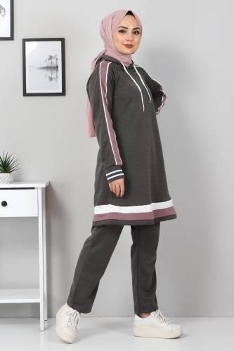 Tesettür Dünyası - Striped Double Suit TS10475 Smoke Color. (1)