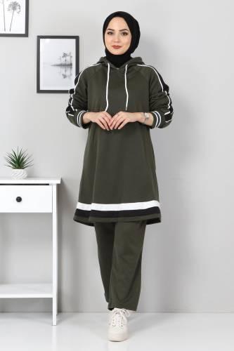 Tesettür Dünyası - Striped Double Suit TS10475 Khaki