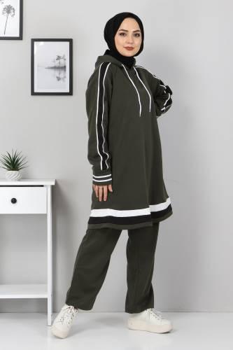 Tesettür Dünyası - Striped Double Suit TS10475 Khaki (1)