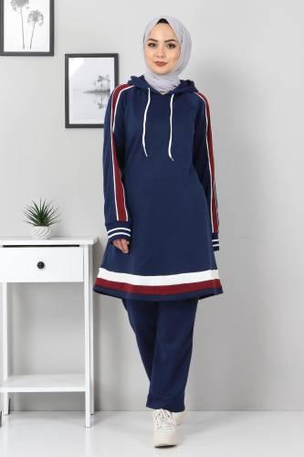 Tesettür Dünyası - Striped Double Suit TS10475 Indigo