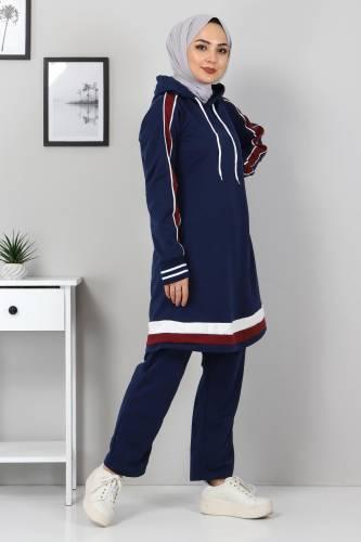 Tesettür Dünyası - Striped Double Suit TS10475 Indigo (1)