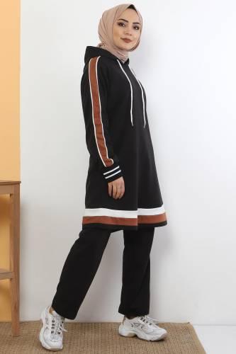Tesettür Dünyası - Striped Double Suit TS10475 Black