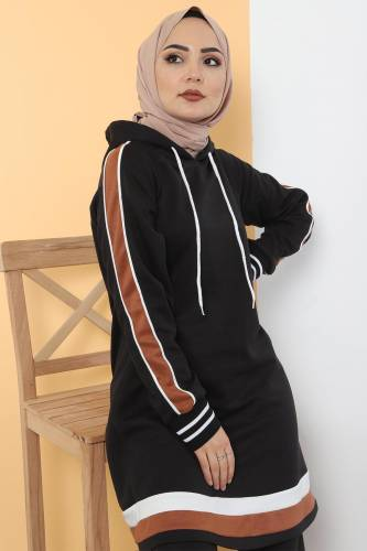 Tesettür Dünyası - Striped Double Suit TS10475 Black (1)