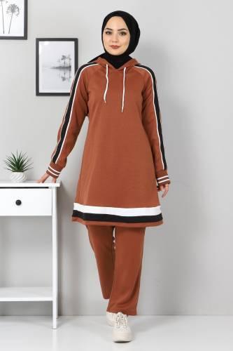 Tesettür Dünyası - Striped Double Suit TS10475 Tobacco Color.