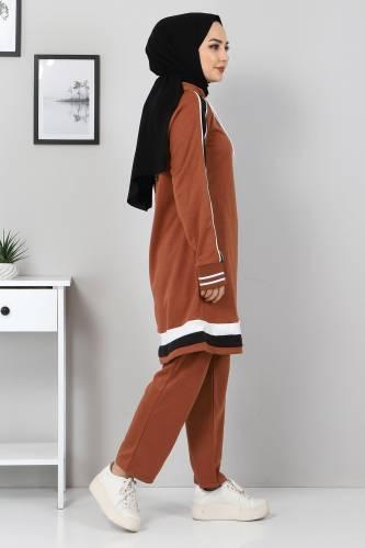 Tesettür Dünyası - Striped Double Suit TS10475 Tobacco Color. (1)