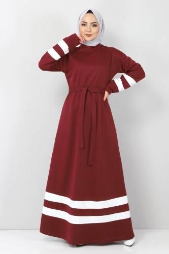 Tesettür Dünyası - Şeritli Tesettür Elbise TSD10486 Bordo