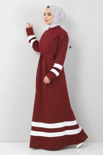 Tesettür Dünyası - Şeritli Tesettür Elbise TSD10486 Bordo (1)