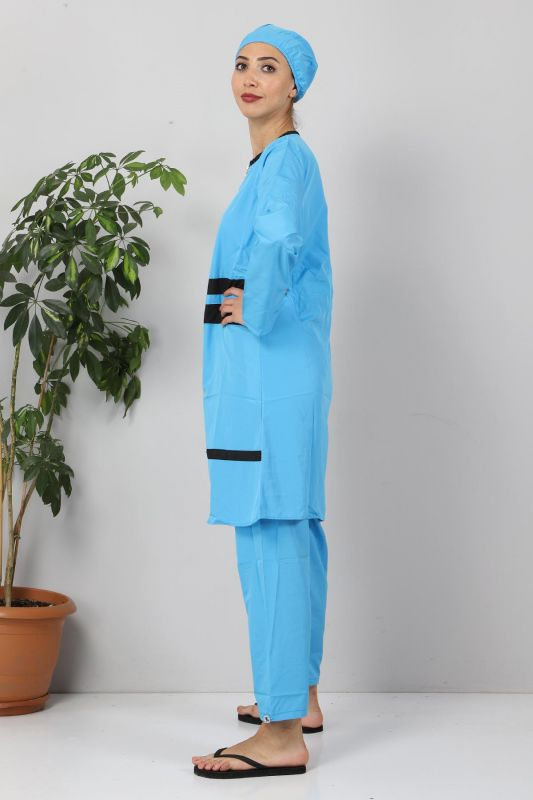 Şeritli Tesettür Mayo TSD8830 Mavi-Siyah