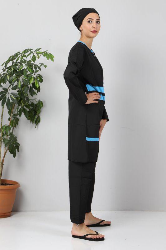 Şeritli Tesettür Mayo TSD8831 Siyah - Mavi