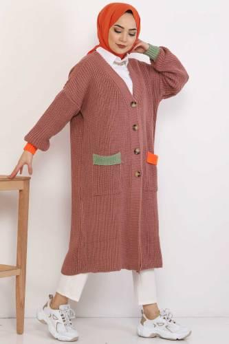 Shabby Knitwear Cardigan TSD2449 Dried Rose - Thumbnail