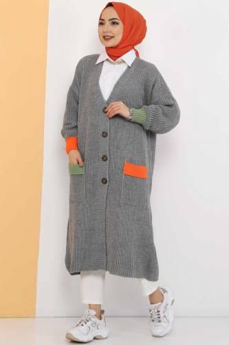 Shabby Knitwear Cardigan TSD2449 Gray - Thumbnail