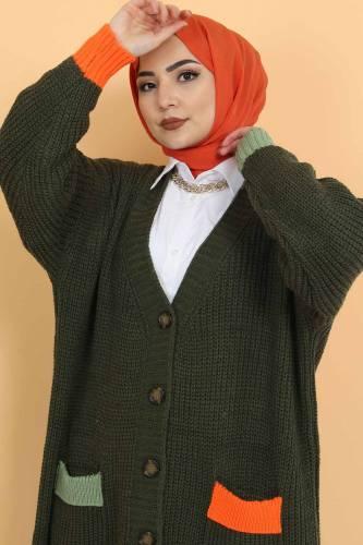 Shabby Knitwear Cardigan TSD2449 Khaki - Thumbnail