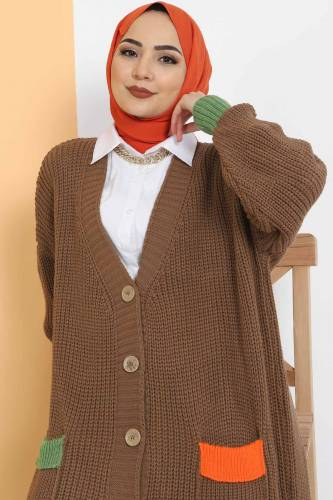 Shabby Knitwear Cardigan TSD2449 Mink - Thumbnail