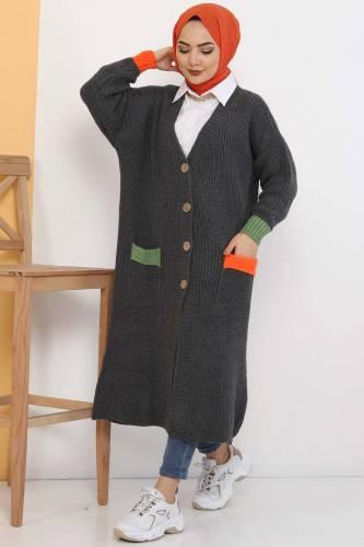 Shabby Knitwear Cardigan TSD2449 Smoked - Thumbnail