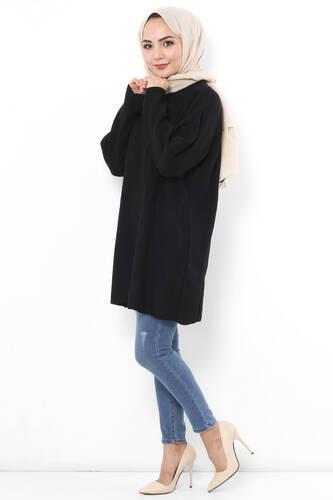 Tesettür Dünyası - Shabby Tricot Tunic TSD5323 Black (1)