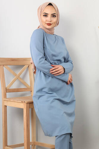 Side Bonded Double Suit TSD0117 Jeans Blue - Thumbnail