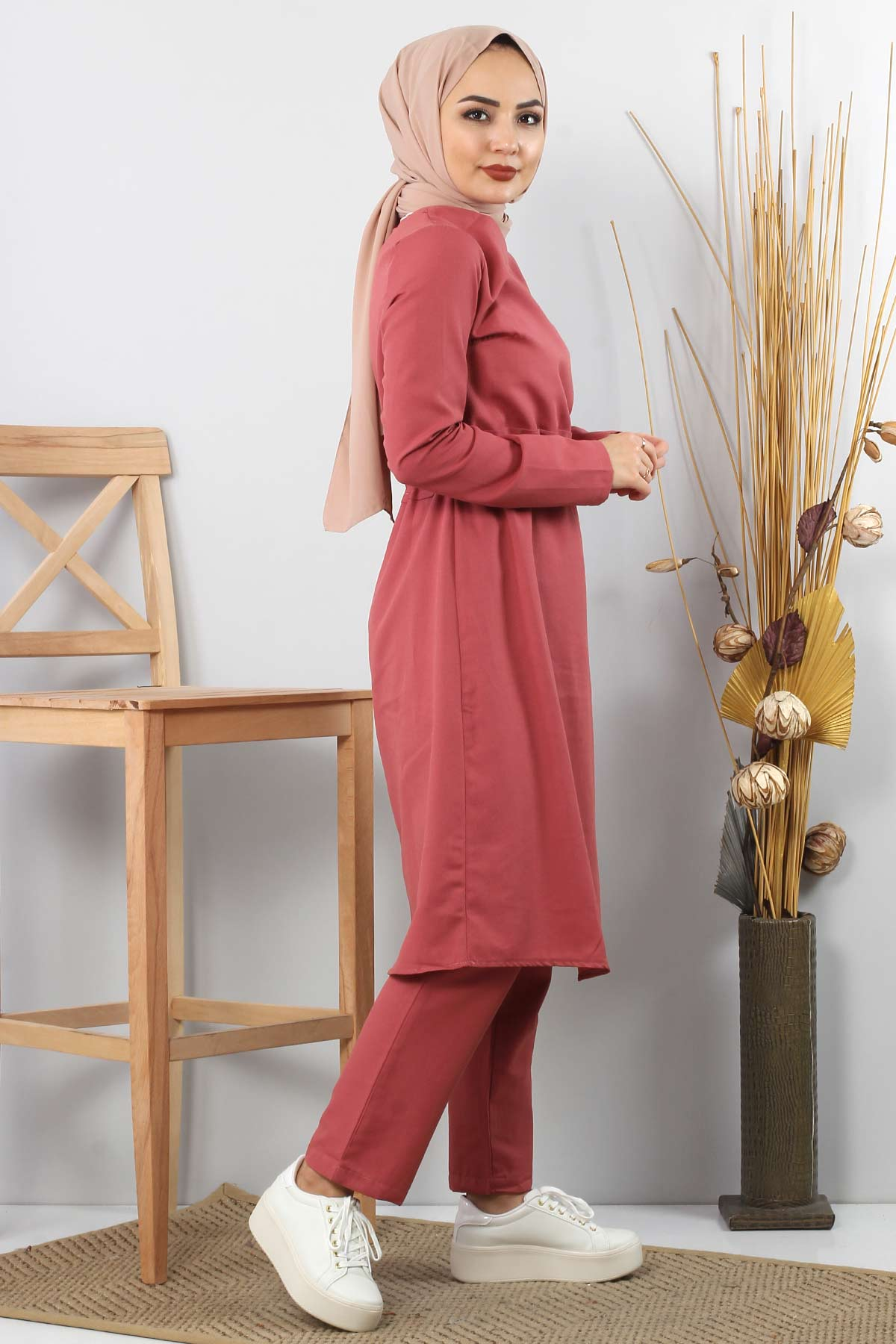 Side Ribbon Double Suit TSD0117 Coral