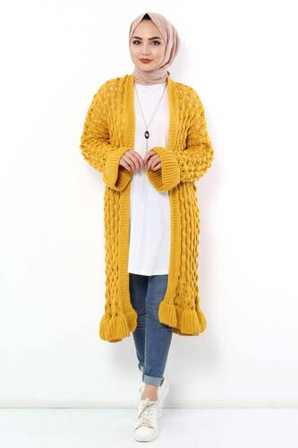 Tesettür Dünyası - Sleeve Detailed Knitwear Cardigan TSD3105 Yellow