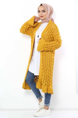 Tesettür Dünyası - Sleeve Detailed Knitwear Cardigan TSD3105 Yellow (1)