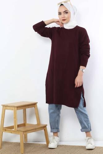 Tesettür Dünyası - Slit Knitwear Tunic TSD5239 Claret Red