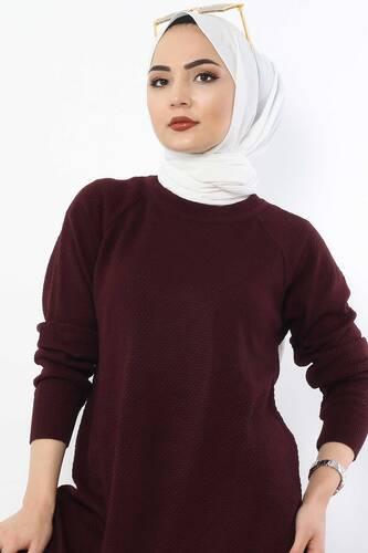 Tesettür Dünyası - Slit Knitwear Tunic TSD5239 Claret Red (1)