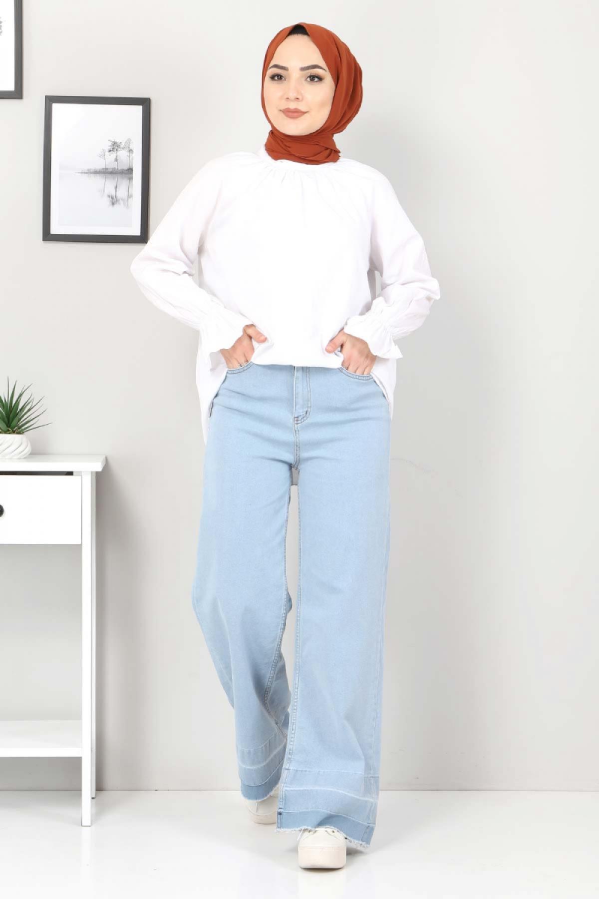 Sökük Paça Detaylı Kot Pantolon TSD2256 Açık Mavi