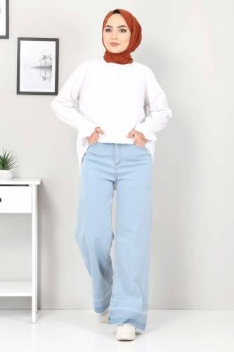 Sökük Paça Detaylı Kot Pantolon TSD2256 Açık Mavi - Thumbnail