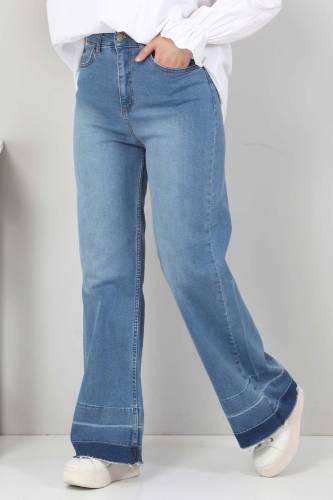 Tesettür Dünyası - Sökük Paça Detaylı Kot Pantolon TSD2256 Koyu Mavi