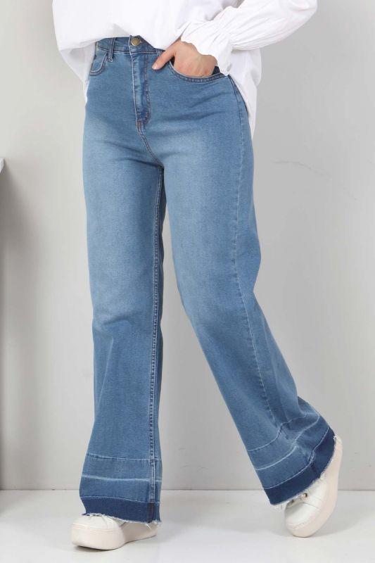 Sökük Paça Detaylı Kot Pantolon TSD2256 Koyu Mavi