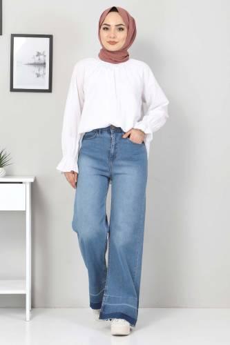 Tesettür Dünyası - Sökük Paça Detaylı Kot Pantolon TSD2256 Koyu Mavi (1)