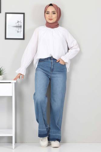Sökük Paça Detaylı Kot Pantolon TSD2256 Koyu Mavi - Thumbnail