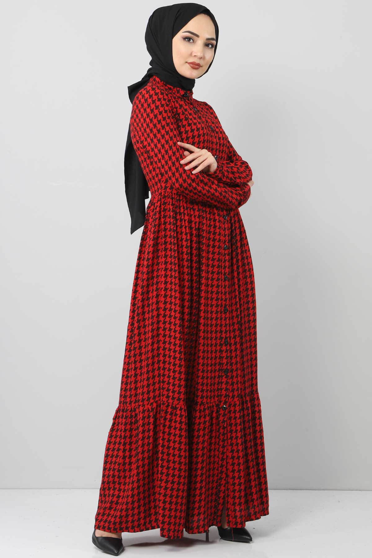 Square Patterned Dress TSD4139 Red