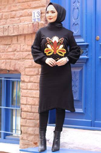 Stamp Sequined Tricot Tunic TSD3006 Black - Thumbnail