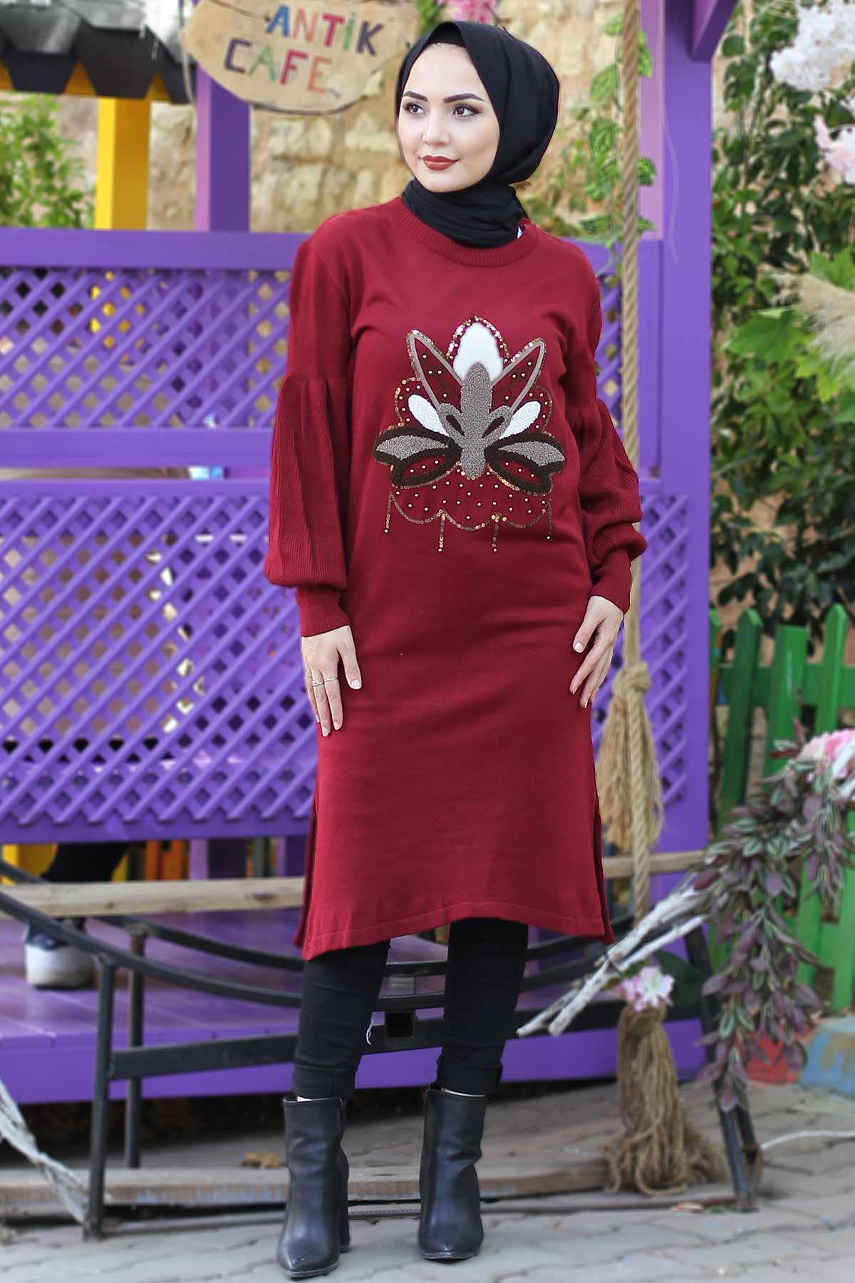 Stamp Sequined Tricot Tunic TSD3006 Claret Red