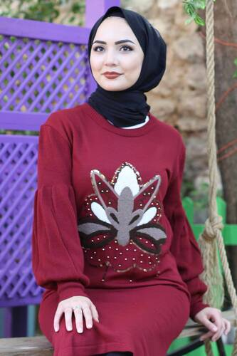 Stamp Sequined Tricot Tunic TSD3006 Claret Red - Thumbnail