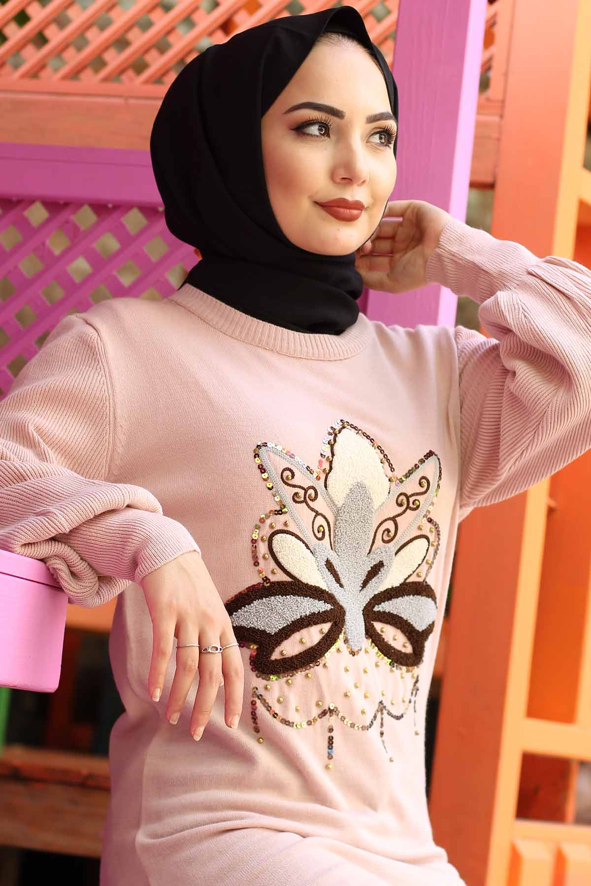 Stamp Sequined Tricot Tunic TSD3006 Powder.