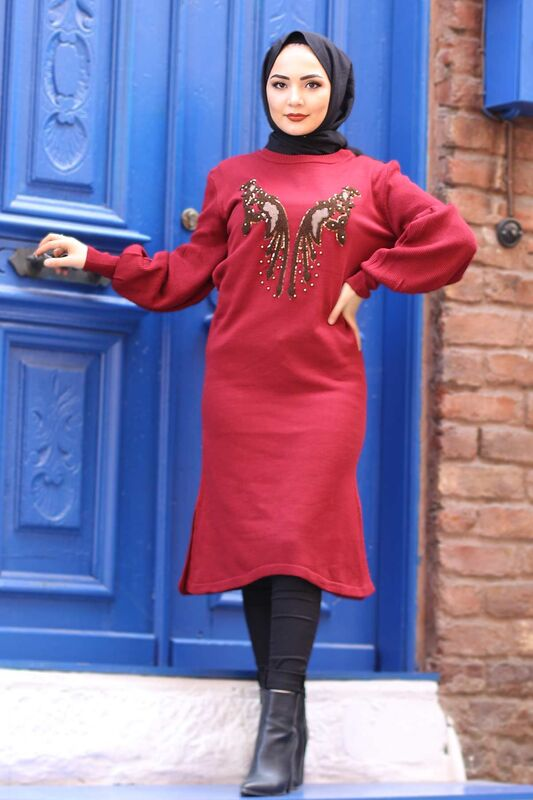 Stamp Sequined Tricot Tunic TSD3007 Claret Red