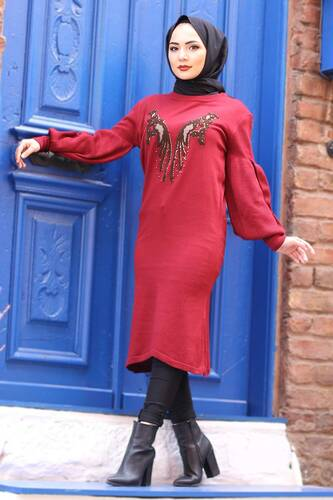 Stamp Sequined Tricot Tunic TSD3007 Claret Red - Thumbnail