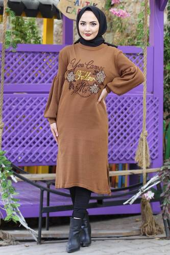 Stamp Sequined Tricot Tunic TSD3008 Brown - Thumbnail