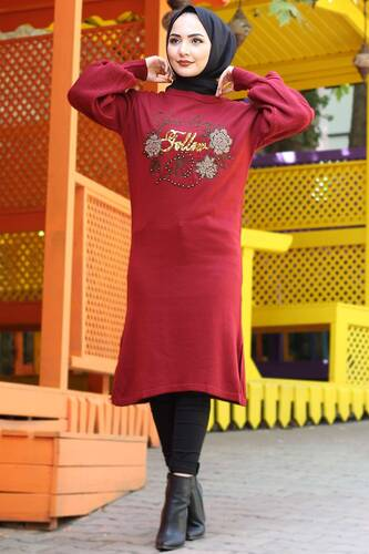 Stamp Sequined Tricot Tunic TSD3008 Claret Red - Thumbnail