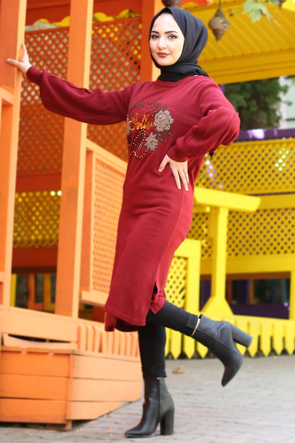 Stamp Sequined Tricot Tunic TSD3008 Claret Red