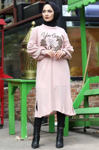 Stamp Sequined Tricot Tunic TSD3008 Powder - Thumbnail