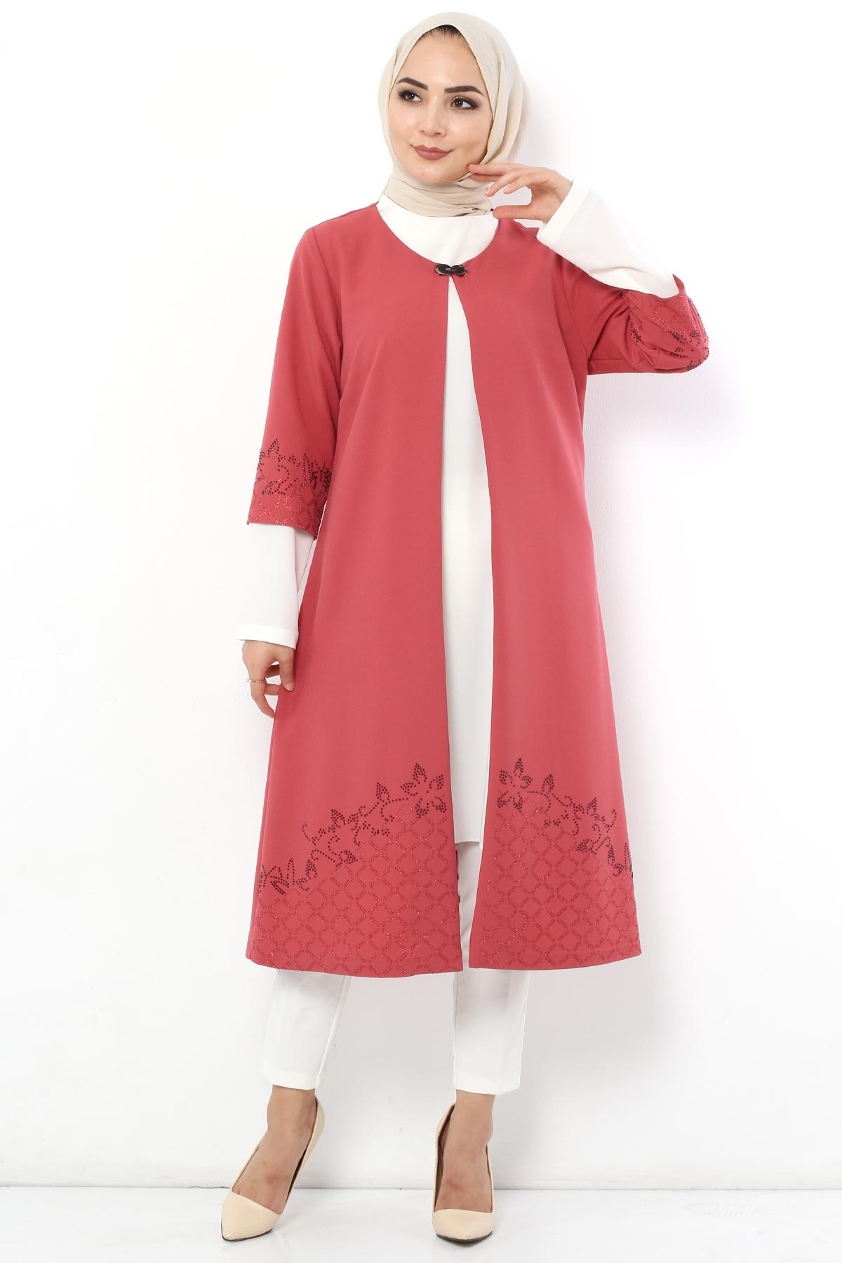 Stone Embroidered Double Suit TSD2608 Dried Rose