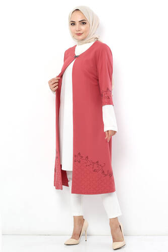 Stone Embroidered Double Suit TSD2608 Dried Rose - Thumbnail