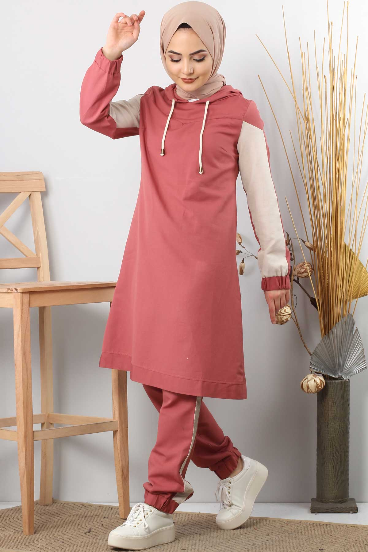 Striped Double Suit TSD0085 Coral.