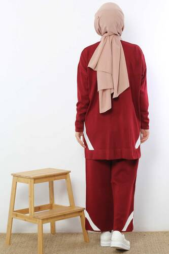 Striped Double Suit TSD2004 Claret Red - Thumbnail